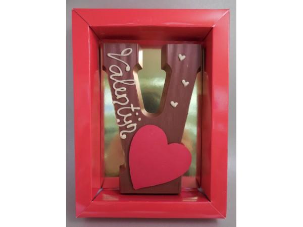 Letter V Hart met tekst: Valentijn