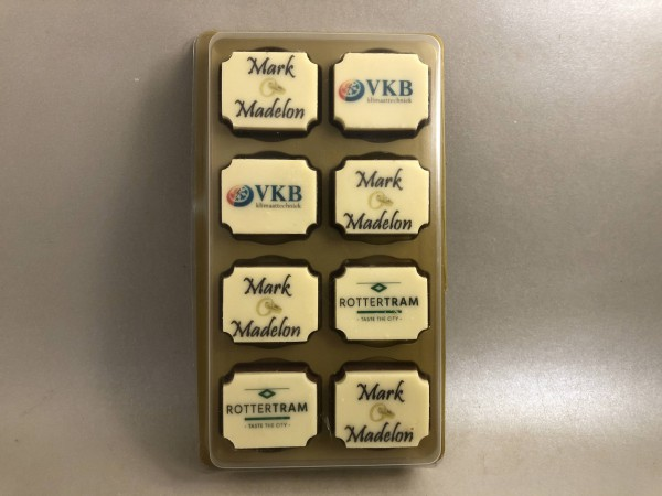 Logochocolade per 8 in luxe blister